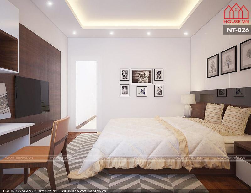 thiết kế phòng ngủ có vệ sinh hiện đại ngăn nắp