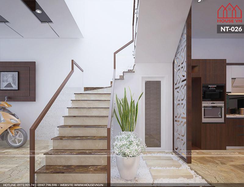 mẫu nội thất gara để xe và cầu thang nhà ống hiện đại
