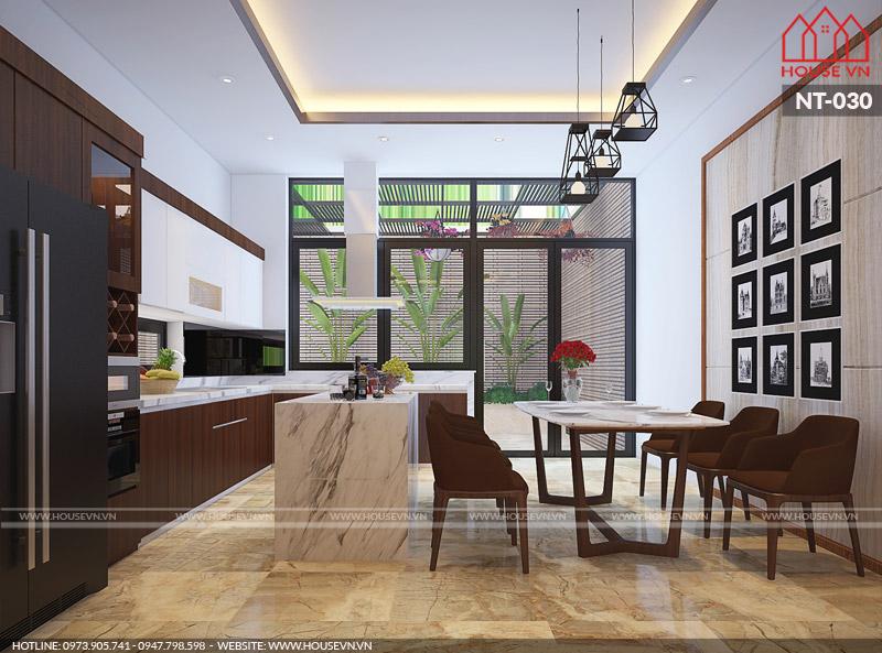 nội thất phòng bếp ăn hiện đại của nhà ống đẹp