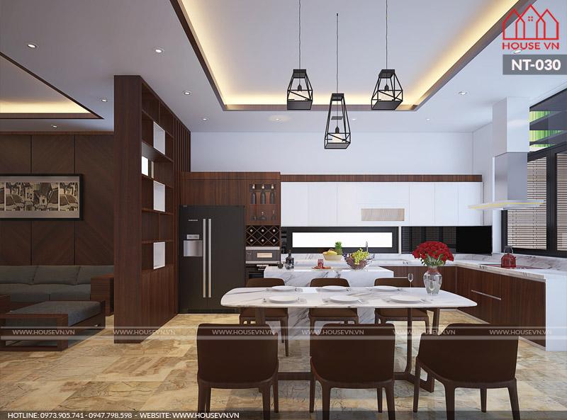 phòng ăn liền kề phòng khách hiện đại đẹp