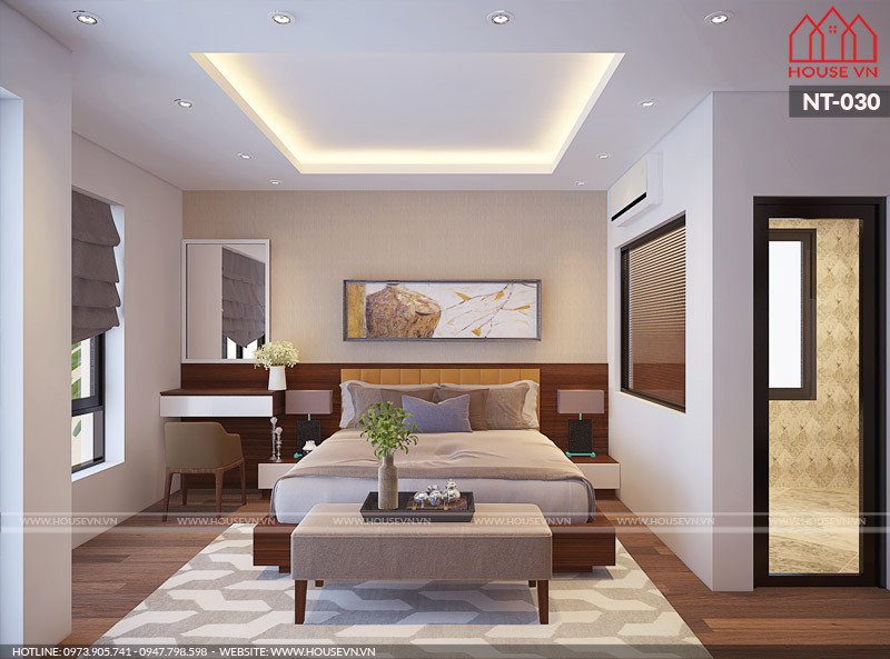 thiết kế nội thất phòng ngủ hiện đại cho chung cư