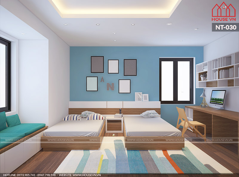 không gian phòng ngủ dành cho con đẹp và tiện nghi