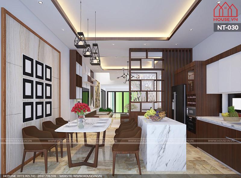 nội thất phòng ăn và bếp của nhà phố hiện đại