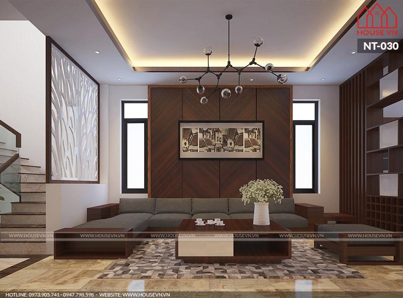 thiết kế nội thất phòng khách nhà ống hiện đại 70m2