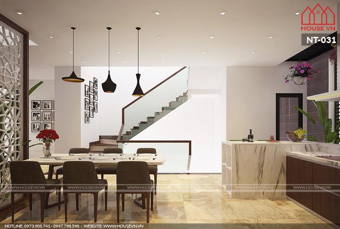 thiết kế nội thất phòng bếp hiện đại đẹp cho nhà ống tại Quảng Ninh