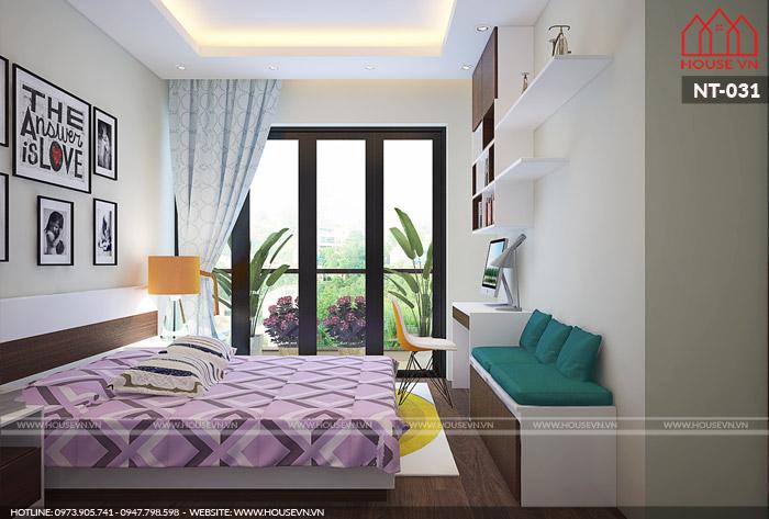 nội thất phòng ngủ dành cho con gái đẹp 15m2