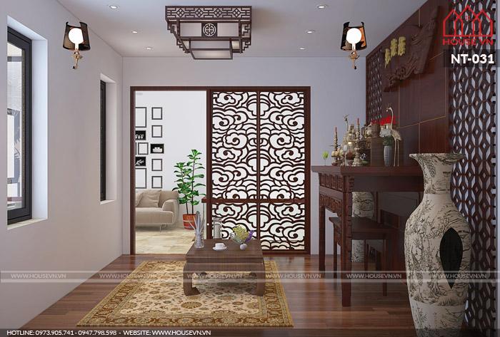 thiết kế nội thất phòng thờ đẹp riêng biệt cho nhà phố