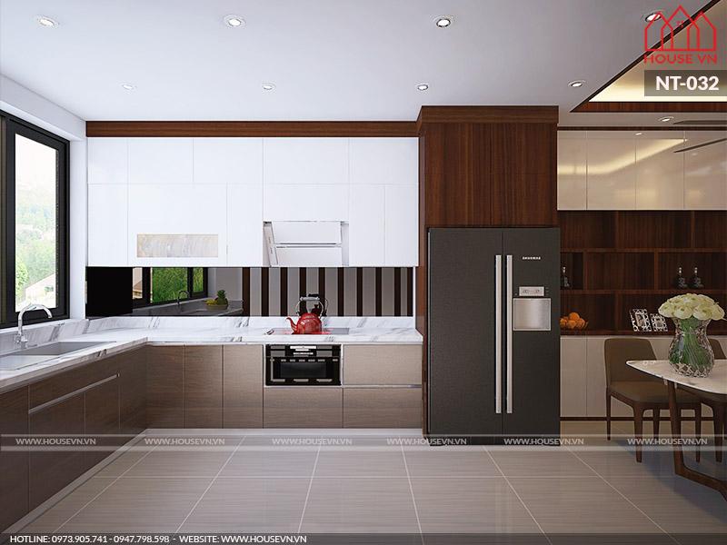 nội thất phòng bếp ăn hiện đại của nhà phố tại hải phòng