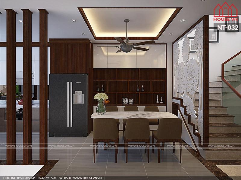 thiết kế nội thất phòng bếp hiện đại cho nhà ống nhỏ