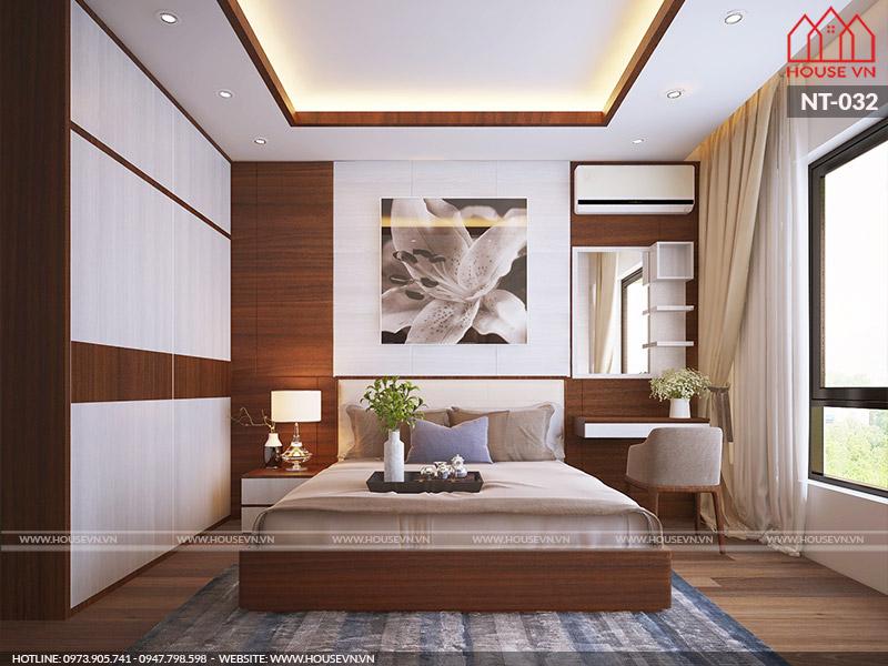 thiết kế phòng ngủ hiện đại đẹp dành cho nhà ống