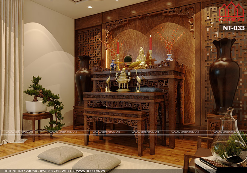 thiết kế nội thất phòng thờ bằng gỗ cho biệt thự đẹp