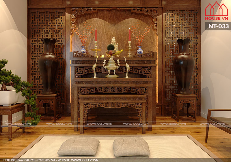 mẫu phòng thờ truyền thống bằng gỗ đẹp