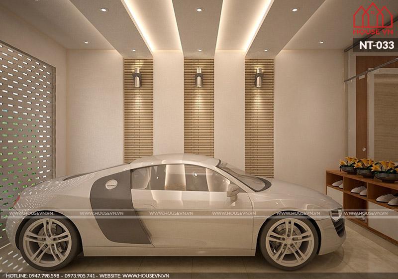 nội thất gara ô tô của biệt thự cao cấp