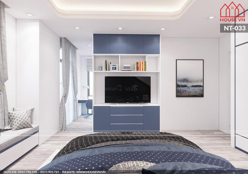 thiết kế nội thất phòng ngủ biệt thự hiện đại dành cho con trai