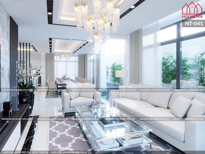 Mẫu thiết kế nội thất phòng khách theo phong cách hiện đại đẹp