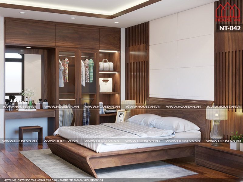 Không gian phòng ngủ của vợ chồng CĐT anh dũng tone màu hợp lý tạo nên nhẹ nhàng thoải mái