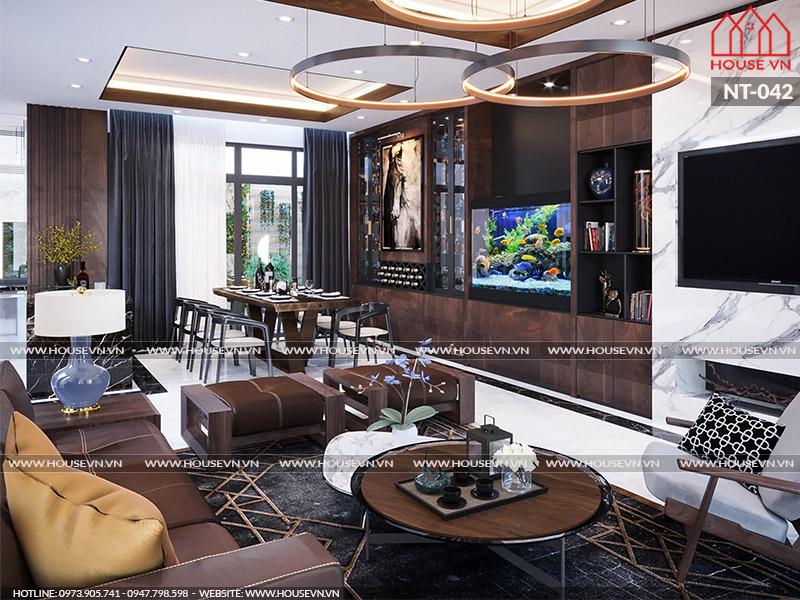 Góc view đẹp cho không gian phòng khách bếp tầng 1 biệt thự Vinhomes Imperia tại Hải Phòng