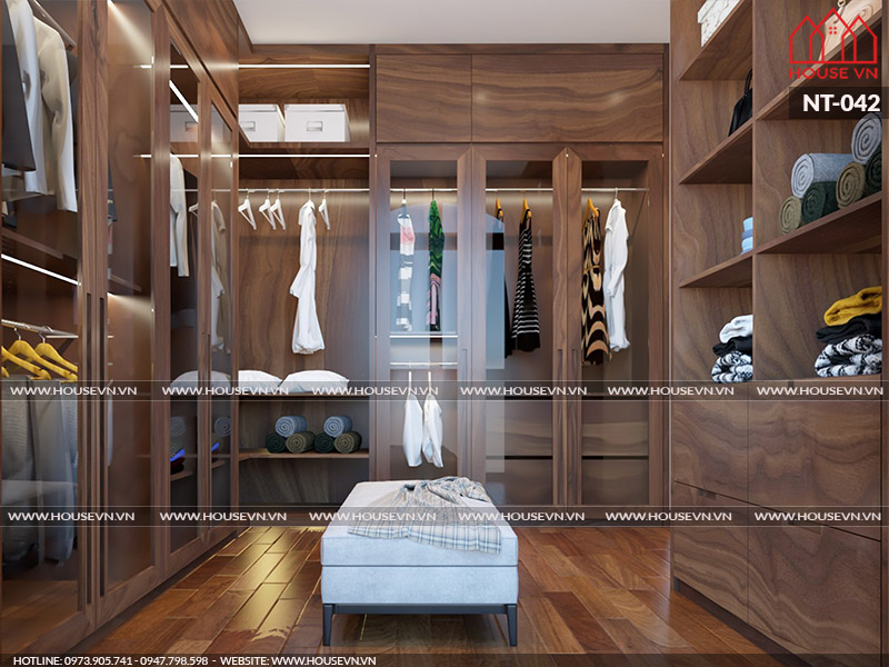 Tủ thay đồ cỡ lớn mang phong cách hiện đại với công năng tiện nghi đầy ấn tượng cho mẫu nội thất phòng ngủ.