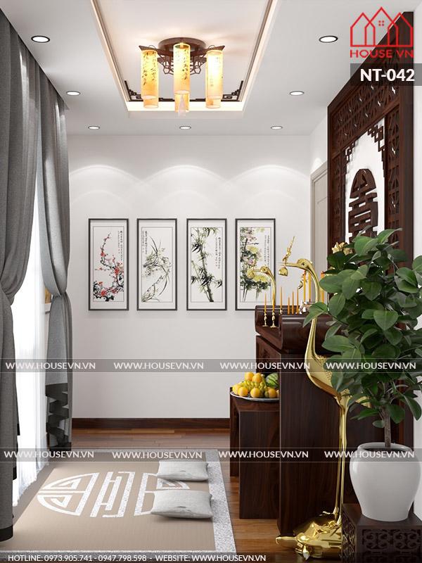 Bài trí phòng thờ hợp hướng ánh sáng tăng độ nghiêm trang cần có cho căn phòng