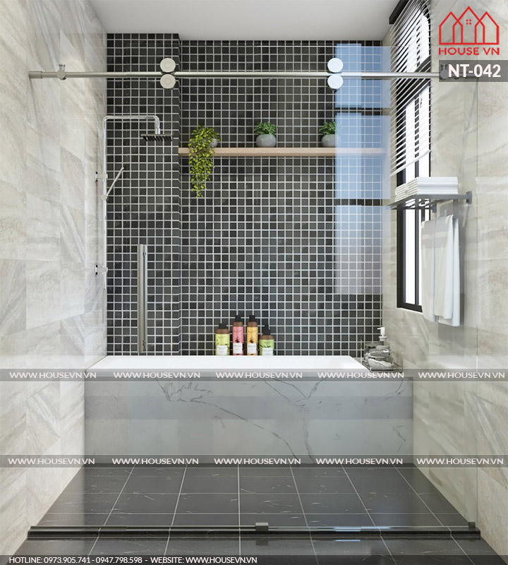 Bồn tắm và hệ kính cường lực chắc chắn tránh cho không khí ẩm cho phòng wc phía ngoài.