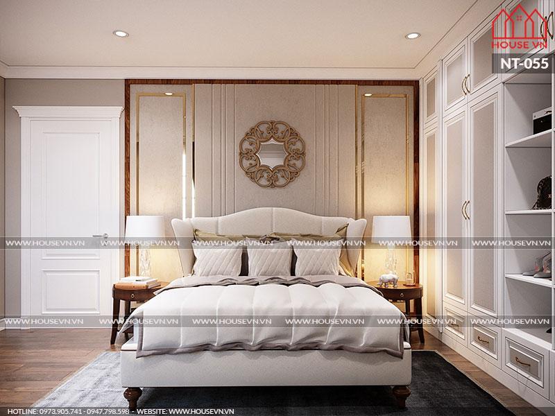 Phòng ngủ có thiết kế nội thất đẹp đơn giản mà vẫn vô cùng tinh tế và thể hiện rõ cá tính của gia chủ