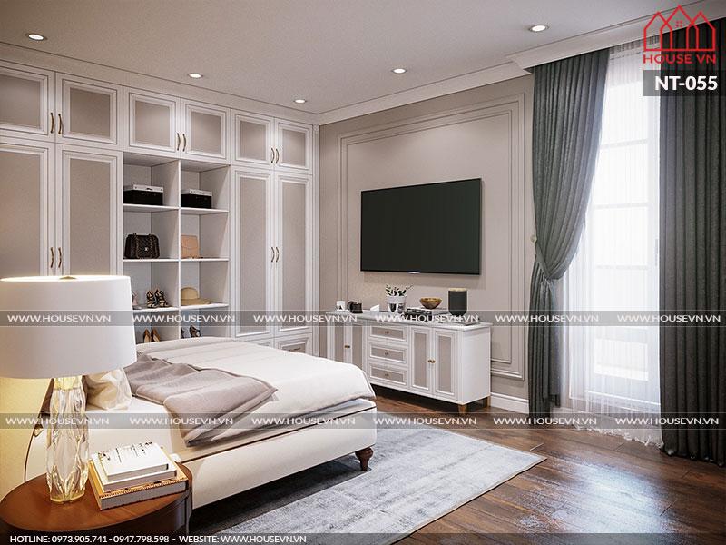 Toàn cảnh phòng ngủ nhà phố có thiết kế nội thất trẻ trung và tiện nghi trong không gian thoáng đãng có hướng gió và ánh sáng hợp lý
