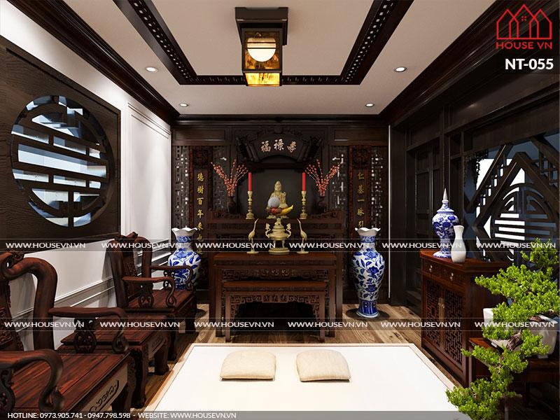 Mẫu phòng thờ truyền thống dành cho nhà ống với vật liệu gỗ cao cấp tôn vinh uy quyền sở hữu mà gia chủ có được.