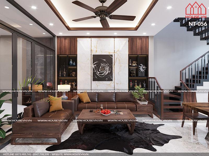 Nội thất phòng khách có thiết kế và bày trí đơn giản nhưng vẫn rất hợp thời