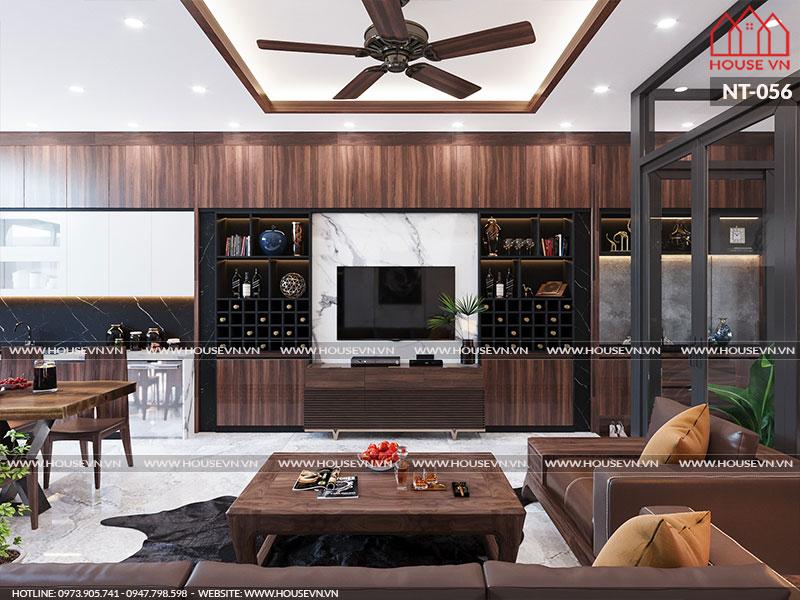 Nội thất phòng khách có thiết kế và bày trí đơn giản nhưng vẫn rất hợp thời.