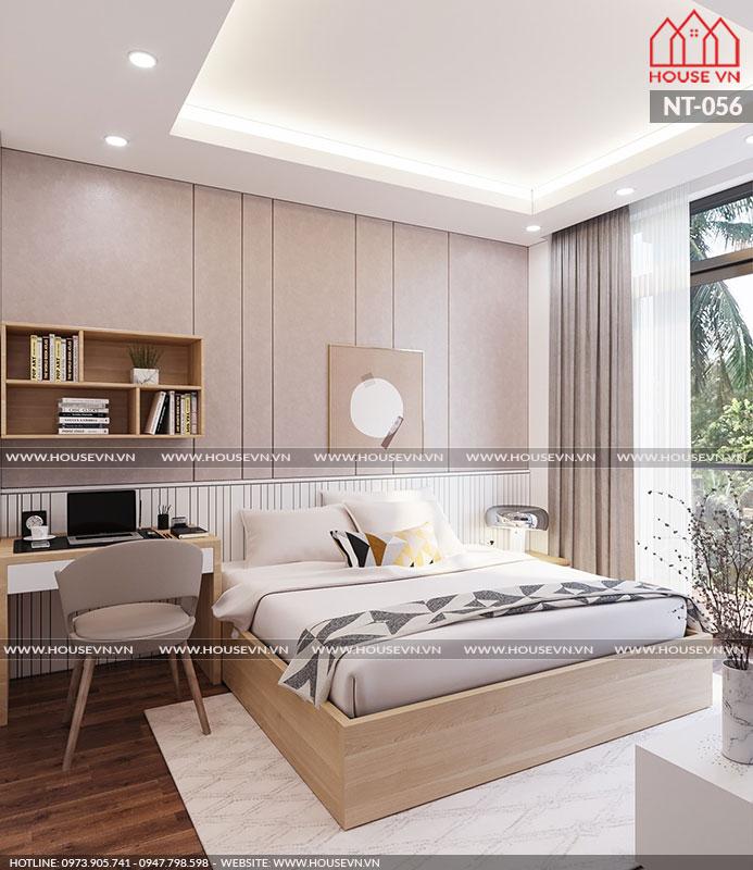 Mẫu thiết kế nội thất phòng ngủ đẹp trang trí đơn giản nhưng vẫn được đánh giá cao về cách sắp xếp công năng