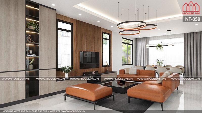 Lựa chọn bày biện bộ sofa và bàn trà với màu sắc nhẹ nhàng mang đến vẻ lịch sự, thanh thoát cho không gian phòng khách của CĐT.