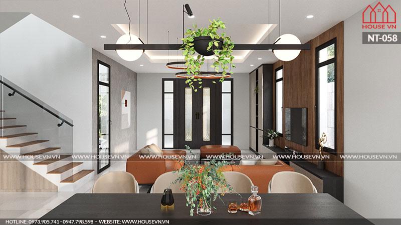 Không gian ấm thực phòng bếp tầng 1 được tính toán, cân đối để bài trí để đáp ứng sinh hoạt chung cho gia đình gia chủ.