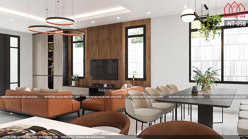 Không gian phòng bếp ăn sử dụng các vật dụng nội thất mang tông màu ấn tượng, sang trọng.