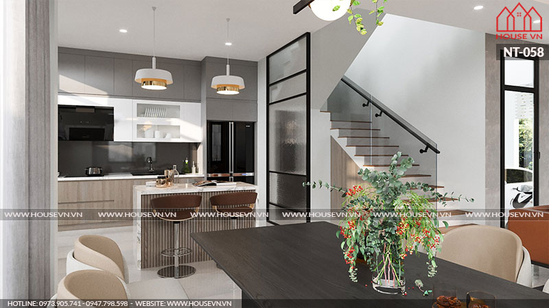 Không gian ấm thực phòng bếp tầng 1 được tính toán, cân đối để bài trí đểđáp ứng sinh hoạt chung cho gia đình gia chủ.