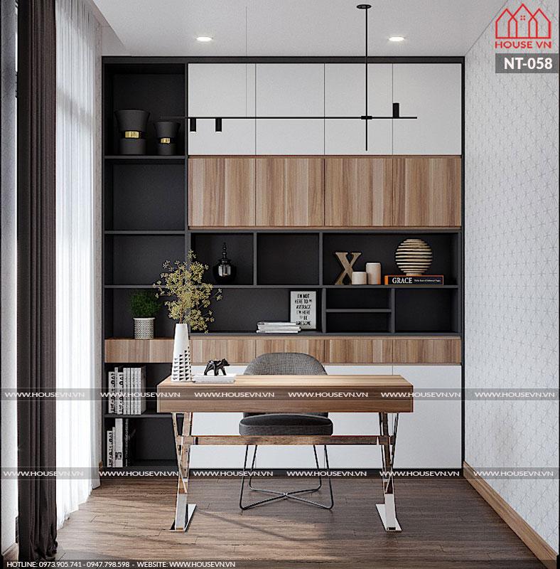 Thiết kế nội thất phòng làm việc với hệ tủ kệ giá sách thông minh