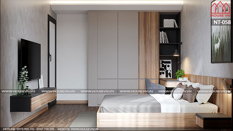 Trang trí nội thất phòng ngủ hiện đại đẹp, đơn giản và vô cùng thoáng đãng đúng ý chủ nhân đề ra.