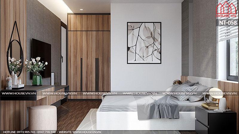 Căn phòng ngủ tiện nghi, đẹp mắt cùng lối bày trí sáng tạo đầy đủ chức năng sinh hoạt cho chủ nhân căn phòng.