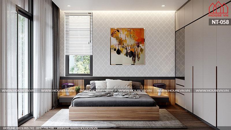 Chỉ với diện tích nhỏ nhưng nhờ lối sáng tạo tài ba của KTS Housevn đã biến căn phòng ngủ trở lên hoàn mỹ hơn, nới rộng không gian cảm thấy rộng rãi nhất.