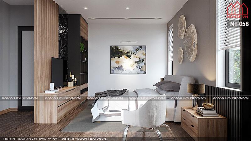 Thiết kế nội thất tủ kệ thay đồ chất liệu gỗ cao cấp bền đẹp trong không gian phòng ngủ biệt thự Vinhomes Imperia