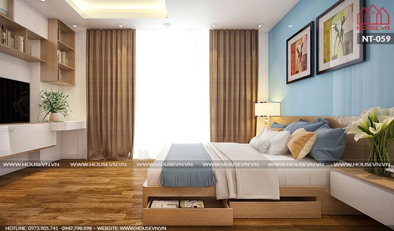 Thêm một phương án thiết kế nội thất phòng ngủ khác của nhà phố với cách bày trí ngăn nắp khoa học