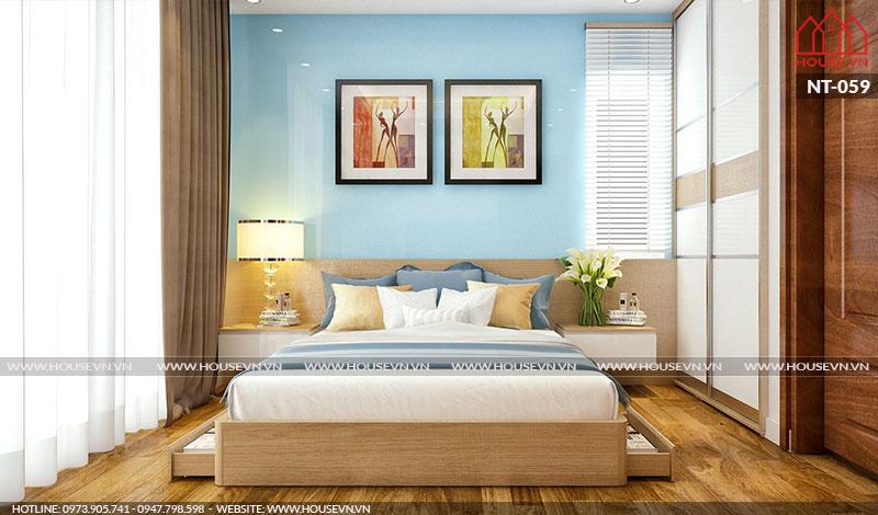 Mẫu thiết kế nội thất phòng ngủ hiện đại đẹp có cửa sổ hết sức thông thoáng.
