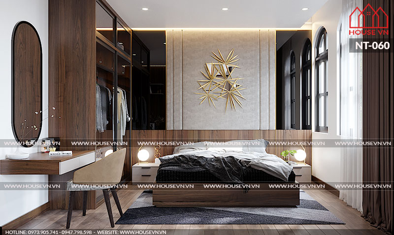 Mẫu nội thất phòng ngủ biệt thự thiết kế đẹp với góc view cửa sổ thoáng đẹp