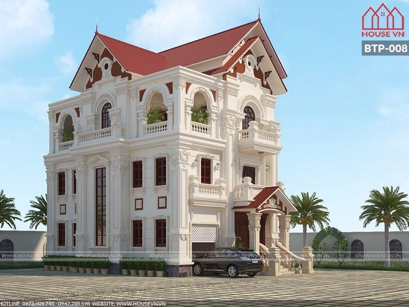 kiến trúc biệt thự pháp mái ngói 3 tầng đẹp tại hải dương