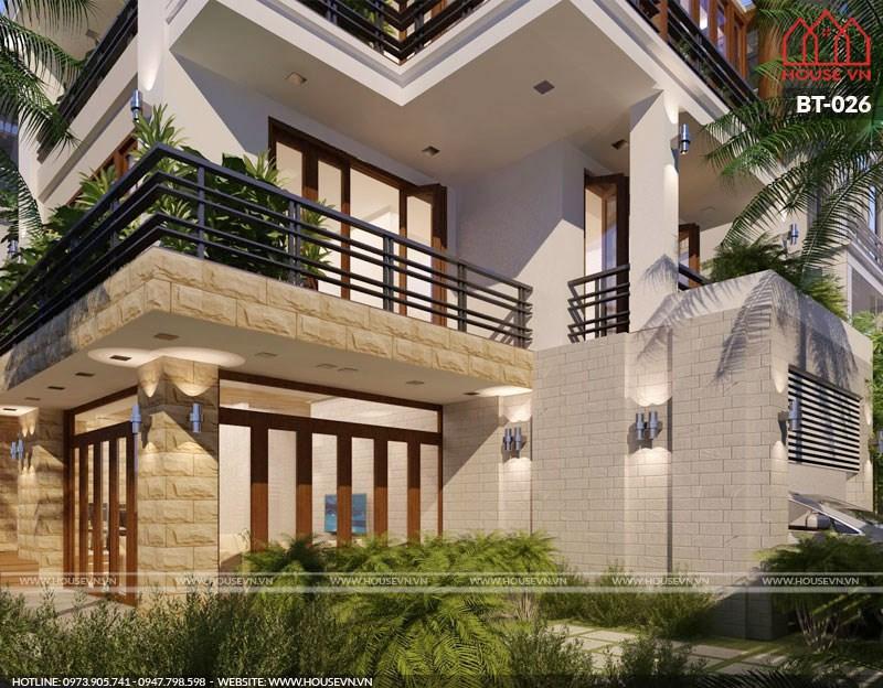 mẫu biệt thự hiện đại có sân vườn 4 tầng đẹp nhất