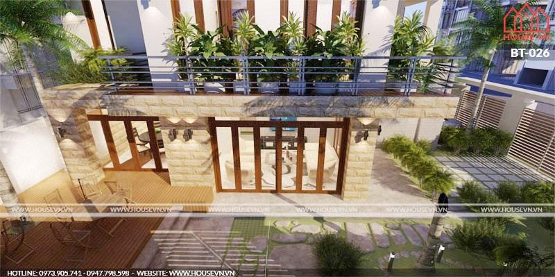 kiến trúc biệt thự vườn 4 tầng đẹp