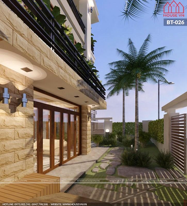 cân cảnh kiến trúc mặt tiền biệt thự vường 4 tầng tại quảng ninh